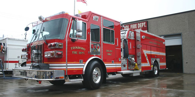 Edinboro volunteer fire department engine company 382 is a 2007 sutphen monarch aluminum top mount pumper with a six person cab equipped with a hale qmax 2000 gpm pump it is supplied by a sciox Gallery